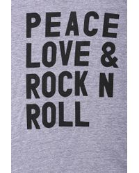 Urban Outfitters - Gray Peace Love Rock Tee for Men - Lyst