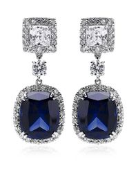Carat* | Blue Sapphire Borderset Drop Earrings | Lyst