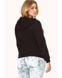 Forever 21 - Black Plus Size Bold Metallic Iconic Hoodie You've Been Added To The Waitlist - Lyst