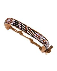 Nakamol - Brown Beaded Leather Bracelet Tan - Lyst