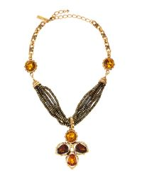 Oscar de la Renta | Metallic Smoky Topaz Multibead  Chain Necklace | Lyst