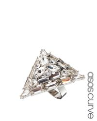 Asos Curve | Metallic Exclusive Jewelled Triangle Ring | Lyst