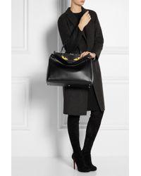 Fendi - Black Peekaboo Medium Leather Tote - Lyst