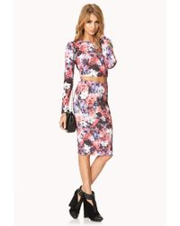 Forever 21 | Pink Watercolor Floral Crop Top | Lyst