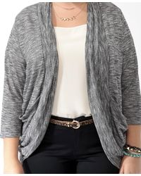 Forever 21 - Black Plus Size Heathered Open Cardigan You've Been Added To The Waitlist - Lyst