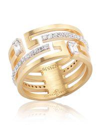Ivanka Trump | Yellow Metropolis 18k Geometric Wedding Band Ring with Deco Diamonds | Lyst
