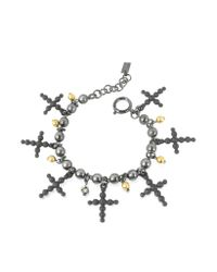 Jean Paul Gaultier - Black Beaded Cross Bracelet - Lyst