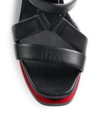 Jil Sander - Black Leather T-Strap Platform Sandals - Lyst