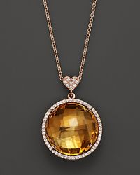 Lisa Nik | Metallic Citrine and Diamond Pendant Necklace in 18k Rose Gold 18 | Lyst