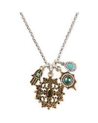 Lucky Brand | Metallic Twotone Hamsa Multistone Charm Necklace | Lyst
