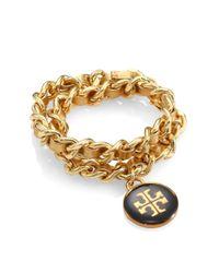 Tory Burch | Woven Metallic Leather Chain Logo Bracelet | Lyst