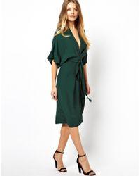 Lyst Asos Midi Dress With Kimono Sleeves In Green