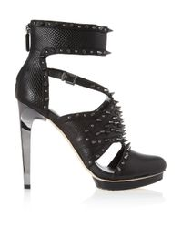 BCBGMAXAZRIA - Black Hersh Studded Textured Leather Ankle Boots - Lyst