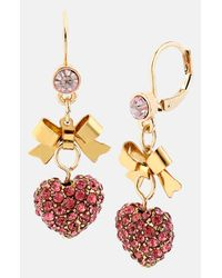 Betsey Johnson | Pink Multi Color Crystal And Bead Teardrop Earrings | Lyst