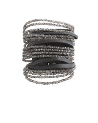 Brunello Cucinelli - Gray Bead Leather Cuff - Lyst
