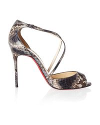Christian Louboutin | Brown So F... 100 Python Sandals | Lyst