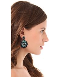 Deepa Gurnani - Blue Stone Crystal Drop Earrings - Lyst