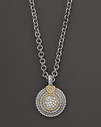 Judith Ripka - Metallic Lenox Sterling Silver and 18k Gold Diamond Pavé Circle Pendant Necklace 17 - Lyst