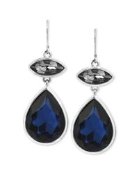 Kenneth Cole - New York Silvertone Faceted Blue and Black Stone Double Drop Earrings - Lyst