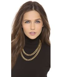 Kenneth Jay Lane - Metallic Double Layer Chain Necklace - Lyst