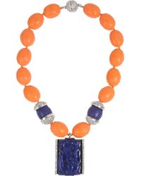 Kenneth Jay Lane | Blue Carved Bead and Crystal Necklace | Lyst