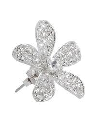 Kenneth Jay Lane | Metallic Silvertone Cubic Zirconia Flower Earrings | Lyst