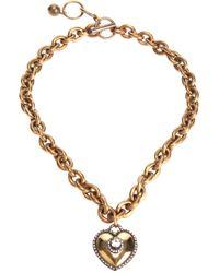 Lanvin - Metallic Heart Pendant Necklace - Lyst