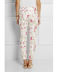 RED Valentino - White Floral-print Sateen-twill Slim-fit Pants - Lyst