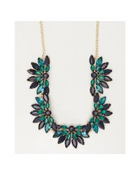 Sparkling Sage | Green Blue And Teal Crystal Floral Statement Necklace | Lyst