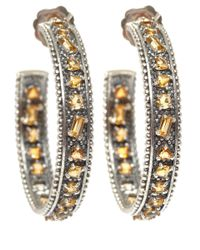 Stephen Dweck - Metallic Silver Yellow Quartz Hoop Earrings - Lyst