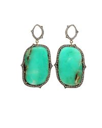 Sylva & Cie - Green Chrysoprase Slice Diamond Earrings - Lyst