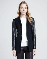Theory | Black Lavey Leather-sleeve Blazer | Lyst