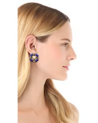 Tory Burch - Blue Delphine Clip On Button Earrings - Lyst
