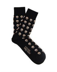 Alexander McQueen Black Skull-patterned Cotton-blend Socks for men