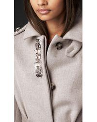 Burberry - Gray Gem Embellished Bonded Angora Coat - Lyst