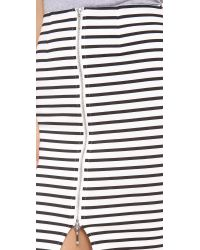 Nicholas - Stripe Zip Pencil Skirt Blackwhite - Lyst