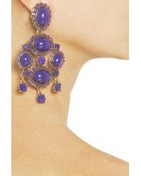 Oscar de la Renta | Blue Pear-shaped Stone Clip-on Earrings | Lyst