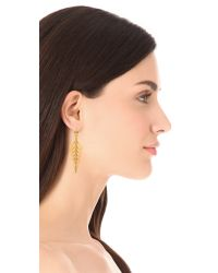 Paige Novick - Metallic Long Diamond Pave Earrings - Lyst