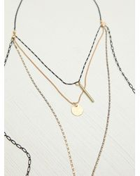 Free People - Black 4 Tier Mixed Chain Necklace - Lyst