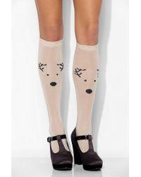 Urban Outfitters - Natural Reindeer Kneehigh Socks - Lyst