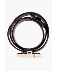 Givenchy | Black Shark Skin Triple_wrap Obsedia Bracelet | Lyst