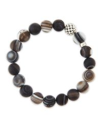 Lagos | Brown Caviarball Black Agate Beaded Stretch Bracelet | Lyst