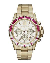 Michael Kors - Metallic Midsize Golden Stainless Steel Everest Chronograph Glitz Watch - Lyst