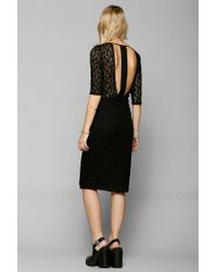 Urban Outfitters | Black Lace Three Quarter Sleeve Midi Dress | Lyst