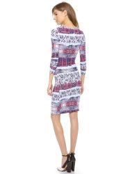 BCBGMAXAZRIA - Blue Dolman Woven Border Dress - Lyst