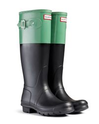 HUNTER - Black Original Colorblock Rain Boots - Lyst