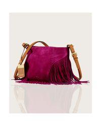 Lauren by Ralph Lauren | Purple Faulk Suede Crossbody | Lyst