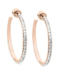 Michael Kors - Pink Rosegoldtone Swarovski Elements Hoop Earrings - Lyst