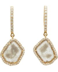 Monique Pean Atelier - Metallic Diamond Slice Gold Hooptop Drop Earrings - Lyst