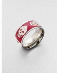 Alexander McQueen | Red Enamel Skull Band Ring for Men | Lyst